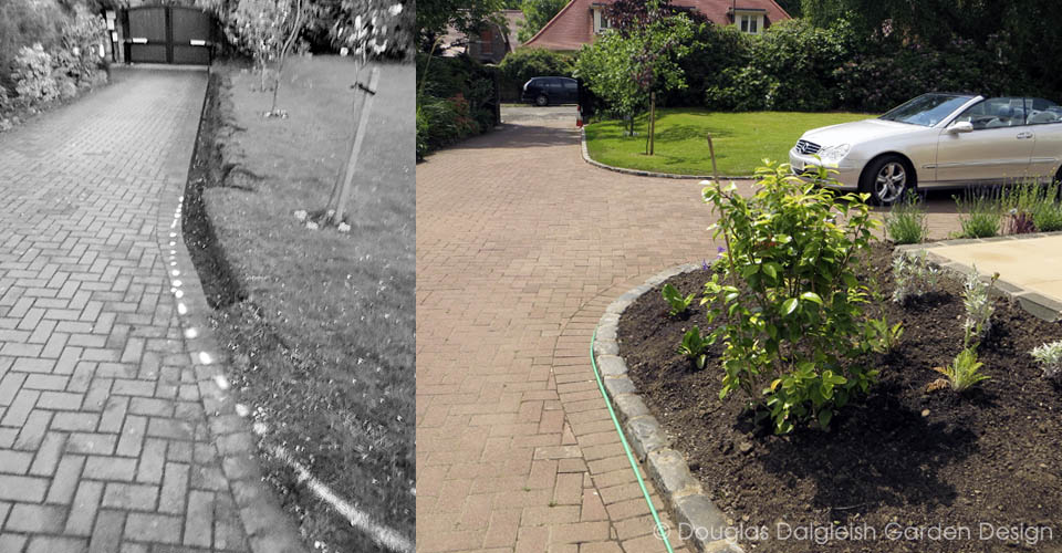 driveway edge detail, before (kerb-less, monochrome) and after (with kerb, colour)