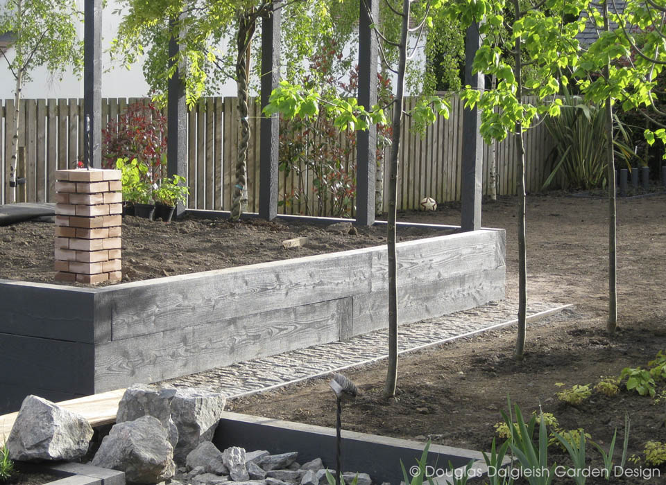 garden construction, timber and planting