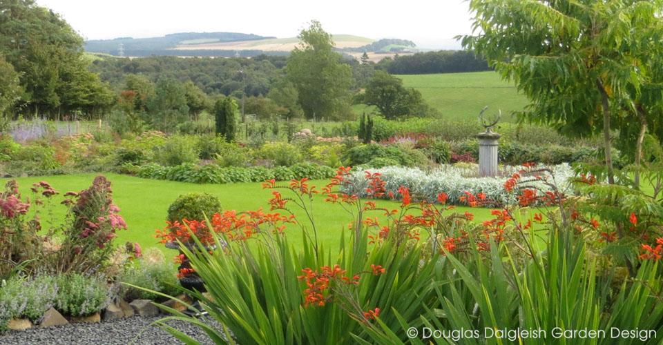 view across garden to Scottish Borders landscape