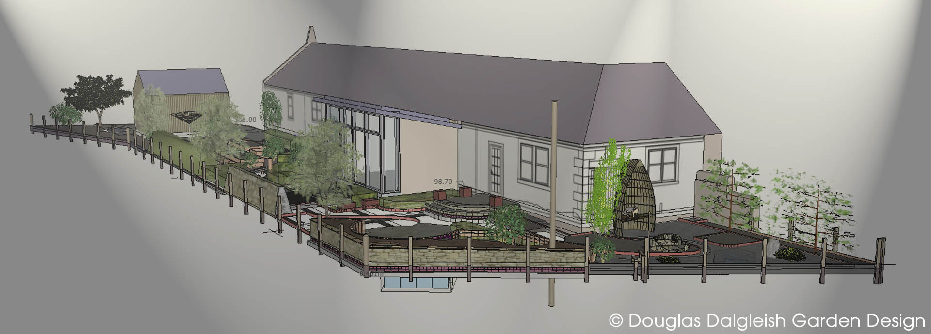 3D visual showing proposed design for rural garden