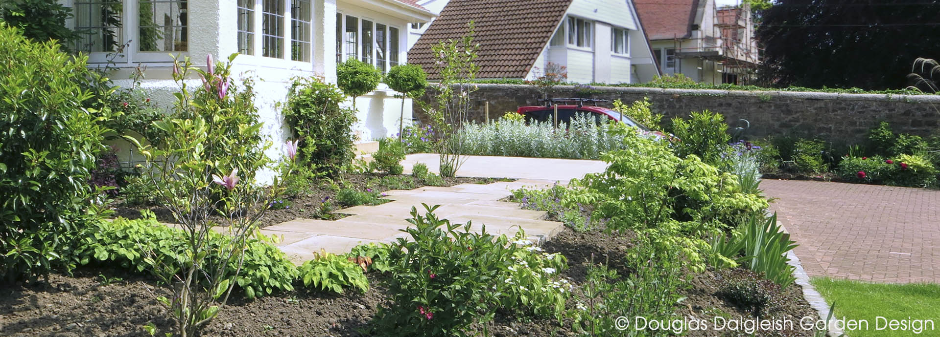 planting and paving in 'Arts and Crafts' garden, Edinburgh